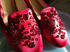 NEW! Tory Burch Red Satin Crystal Embellished Leather DELPHINE Loafers Flats 9 M