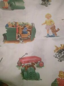 Dick and Jane Fabric by Michael Miller Cotton RARE Vintage Green Car 1 yd