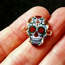 Pack of 2 Day of the Dead Sugar Skull Connector Charms 20mm x 18mm