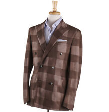NWT $1995 BOGLIOLI Garment-Dyed Brown Check Wool 'K Jacket' Suit 38 R (Eu 48)