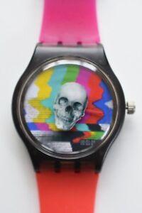 Warped Spinning Skull TV Test Watch -  Retro 80s vintage style designer watch
