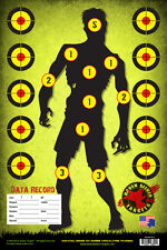 ZOMBIE GREEN SNIPER RANGE PAPER TARGETS; KNIFE, ARCHERY, RIFLE, PISTOL: 15 Pack