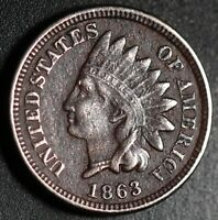 1863 INDIAN HEAD CENT - With LIBERTY - VF VERY FINE