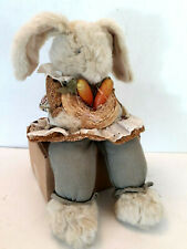 Country Bunny Rabbit Straw Hat Carrots Shelf Sitter Bean Bag Plush Farmhouse 17""