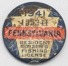 1941 Pa Pennsylvania Fishing License Resident Button Vintage w/ Papers