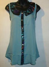 Top XL Blouse Button Down Front Turquoise Green Black Trim Silky Shirt 101