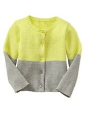 NWT GAP Girl Colorblock Ribbed Cardigan 18-24 Months Key Lime Pie Sweater