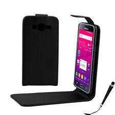Black Leather Flip Case Cover for Telstra Samsung Galaxy J3 2016 + Stylus