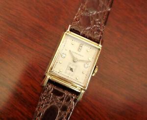 Vintage Longines Art Deco14k Yellow Gold Tank Diamond Watch 9L 17J Runs