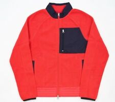 NWT GANT RUGGER Contrast Fleece Jacket in Bright Red sz S