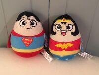 DC COMICS DC SUPERHEROES SUPERMAN WONDER WOMAN EGG SHAPED PLUSH  NEW