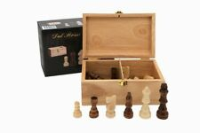 NEW Dal Rossi Italy Wooden Chess Pieces in a Wood Storage Box Italian - 9mm King