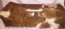 Vintage Brown White Duffle Gym Travel Bag Cow Fur Hair on Hide Large Carry On