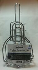 3 Piece Kitchen Organizer Set Mainstays Chrome Finish Utensil Napkin Holders