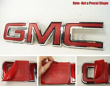 07-17  GMC Sierra Yukon RED Carbon Fiber Front Grill Emblem Overlay Kit decal