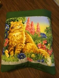 New Handmade Orange Cat with Flowers Quillow (Pillow w/ 6ft long quilt inside!)