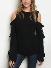 Sexy Black Long Bell Sleeve, Cold Shoulder Knit Sweater Size Small