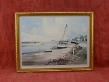 lovely print of watercolour BY John Sutton, boat in harbour, gilt picture frame