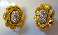 Vintage Signed GIVENCHI Paris NY Diamond Paste Gold Tone Pirced Clip On Earrings
