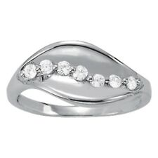 New Ladies 14k White Gold Swirl Leaf Right Hand Diamond Ring