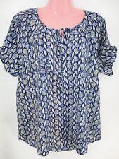 Daniel Rainn Top Size Lg Blue Cream Yellow Short sleeve Button Front V Neck Tie