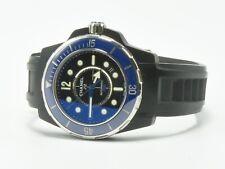 Chanel J12 Marine Diver Watch Auto Rubber Band Black Dial Blue Bezel Box Paper