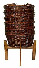 Wicker Shopping Baskets Folding Handles & Shopping Stand - LARGE VINTAGE BROWN