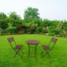 Klapptisch mit 2 Klappstühle Gartenmöbel Set 3-teilig Balkontisch Klappbar Rund