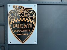 Retro Ducati Meccanica Italy Enamel Metal Garage Shop Plaque Plate Sign Tile