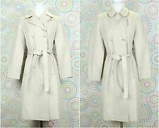 Women Belted Trench Long Coat Jacket Size 5/6 Cream Great Condition