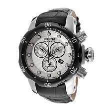 Men's Invicta Venom 46mm Swiss Quartz Chronograph Black Leather Watch New 13904