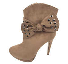 Womens Ladies Khaki Faux Suede High Heel Party Shoes Ankle Boots Size UK 8 New