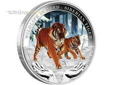 1 $ Wildlife in Need Tuvalu 2012 Siberian Tiger PP 1 Unze Silber silver proof