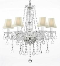 Crystal Chandelier Chandeliers Lighting with White Shades! H 25