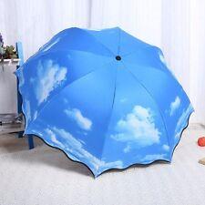 Blue Sky Designer Umbrella 3 Folding Rain/Sun Umbrella Women Ladies Umbrella