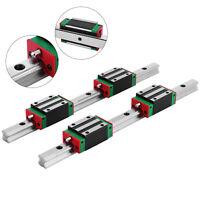15-300mm 2 x Linear Guideway Rail 4 x Square Type Bearing Block HGH 15CA