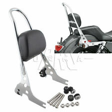 Chrome Passenger Backrest Pad Sissy Bar Cushion For Harley Sportster XL 883 1200