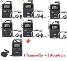 Pro UHF 815-823MHZ Wireless Tour Guide /Monitoring system for Hajj, church 1T6R