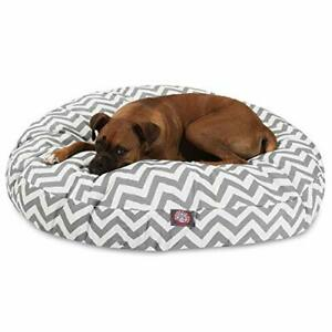Gray Chevron Large Round Indoor Outdoor Pet Dog Bed With Removable Washable C...