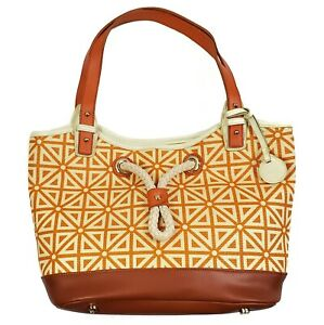 Spartina 449 Port To Port Tote Bag Prestwick Pattern Orange Cream Linen Leather