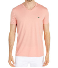 Lacoste Men's Short Sleeve V-Neck Pima Jersey Shirt, Color Options