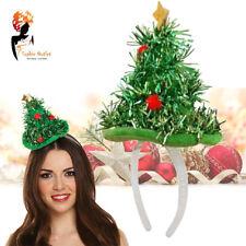 Christmas Tree Hat Headband Tinsel Mini Xmas Ladies Party Fancy Dress Costume