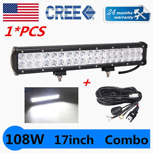 17inch 108W LED Light Bar Work Flood Spot Combo Offroad Driving FORD W/ Wire kit