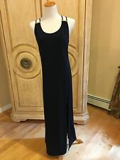 MICHAEL KORS Navy Blue Print Stretch Jersey Sleeveless Maxi Dress  S~NWT