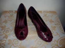 """Size 6' Burgundy Leather Peep Toe 2.5"""" Cuban Heel Clarks Going Out Shoes' V-G-C"""