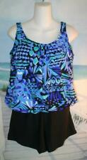 26W BAND HIDE THE MUFFIN TOP TANKINI BLUES TEAL GREEN WAVES SWIM SHORTS 26