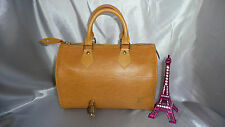 SUPERBE SAC/HANDBAG SPEEDY 25 LOUIS VUITTON CUIR EPI JAUNE ORANGE
