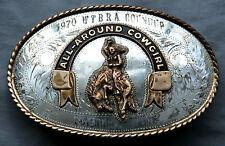 Vtg Irvine Jachens Cowgirl Comstock Silver Western Trophy Belt Buckle 1970