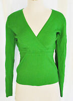 VTG 90s CHIC Green Fitted Stretchy V Neck Empire Ribbed Sweater Top Shirt L