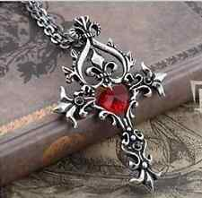 Retro Vampire Diaries Memorial Red Sacred Heart Crystal cross necklace pendantP